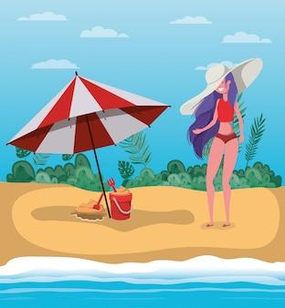 Mädchen mit sommerbadebekleidungsdesign