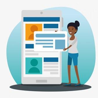 Mädchen mit sozialem smartphone mit chatblasenmitteilung