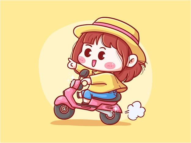Mädchen mit strohhut reiten roller für die lieferung kawaii illustration