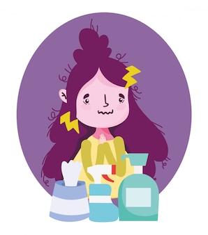 Mädchen mit symptomen fieber erkältung und produkte medizinische versorgung, covid 19 coronavirus pandemie prävention