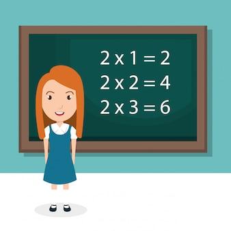 Mädchen mit tafel klassenzimmer charakter