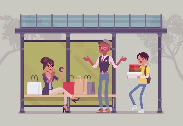 Mädchen mit taschen an der bushaltestelle. dame nach großen einkäufen nahm den ganzen platz ein, frau aus einem geschäft mit einkäufen, passagiere warten auf öffentliche verkehrsmittel. stil cartoon illustration