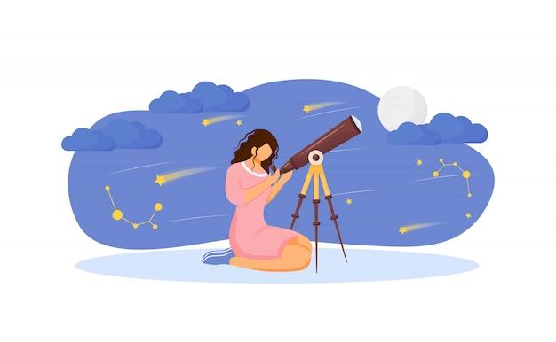 Mädchen mit teleskop