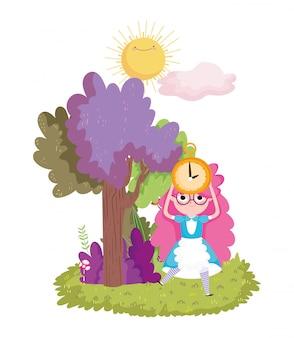 Mädchen mit uhrbaumsonnenwolkenlaub im wunderland