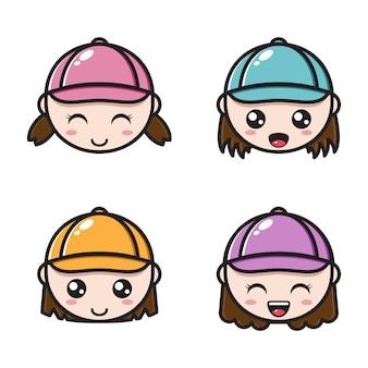Mädchen mit unterschiedlichen ausdrucksformen