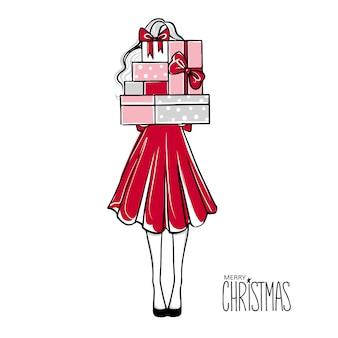Mädchen mit vielen geschenken frohe weihnachten