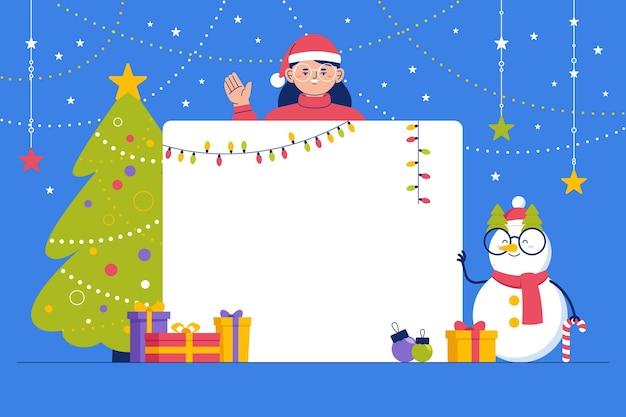 Mädchen mit weihnachtsmütze, die leeres banner hält