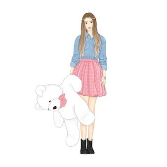 Mädchen mit weißem teddybär