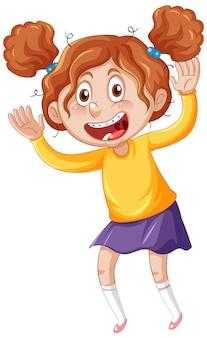 Mädchen mit zahnspange cartoon-figur auf weißem hintergrund