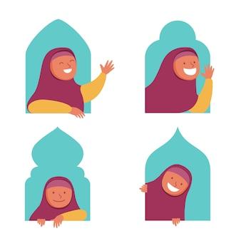 Mädchen-moslemischer flacher charakter, der in das fenster lugt