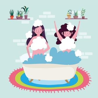 Mädchen nehmen ein bad