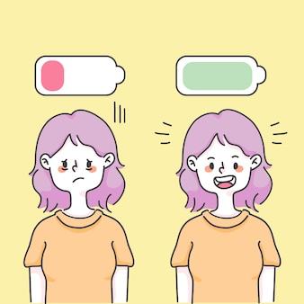 Mädchen niedrige energie und volle energiekonzept glückliche niedliche leute illustration