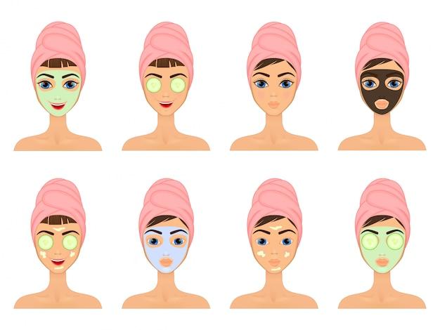 Mädchen pflegt und schützt ihr gesicht mit verschiedenen aktionen, gesichtsbehandlung, behandlung, schönheit, gesund,