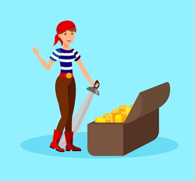 Mädchen-pirat mit saber flat color illustration