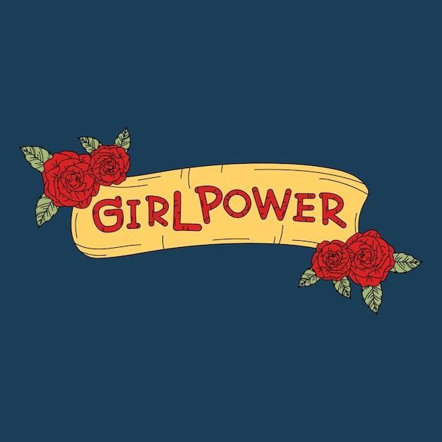 Mädchen-power auf blumenhintergrundvektor