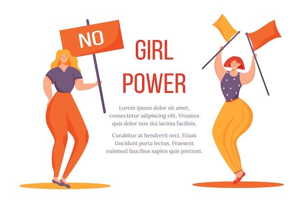 Mädchen power flat poster vorlage. übergewichtige frauen mit plakat und flaggen isolierten zeichentrickfiguren auf weiß. feminismus bewegung. banner, broschürenseite, broschürenentwurfslayout mit platz für text