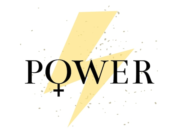 Mädchen-power mit dem geschlechtssymbol-feminismus, der den zitatvektor lokalisiert auf weißem hintergrund beschriftet. motivationsslogan der frau. beschriftung für t-shirts, poster, karten.