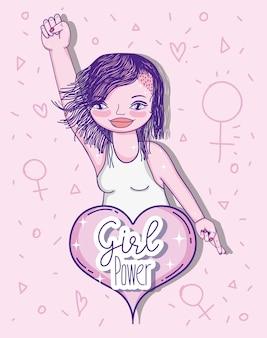 Mädchen power nachricht mit niedlichen frau cartoon