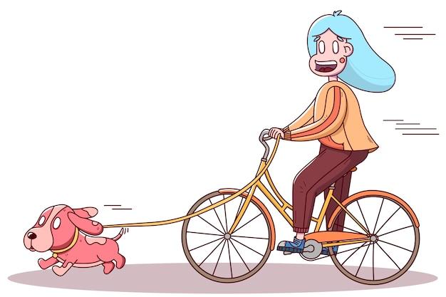 Mädchen radfahrer spazieren mit einem hund. gesunder sportlebensstil, outdoor.