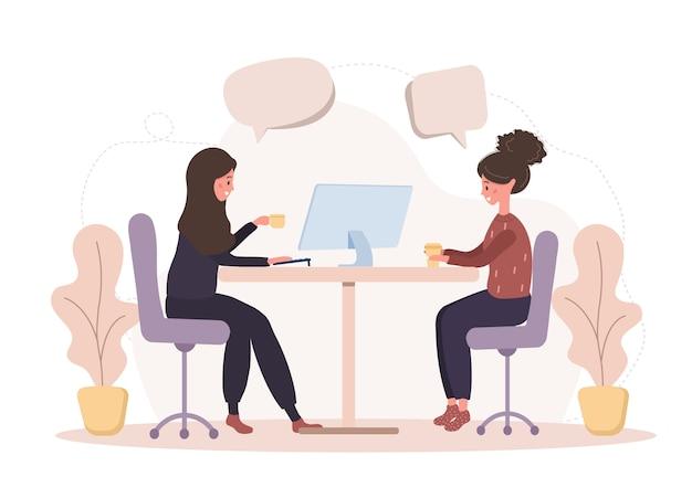 Mädchen reden miteinander. geschäftsfrauen diskutieren über soziale netzwerke, chatten mit sprechblasen im dialog und diskutieren über arbeitsmomente. moderne illustration im stil.