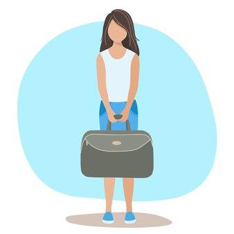 Mädchen reisende mit einem koffer in den händen geht auf dem meer zur ruhe. das konzept von reisen und reisen.