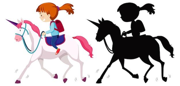 Mädchen reitet einhorn mit ihm silhouette
