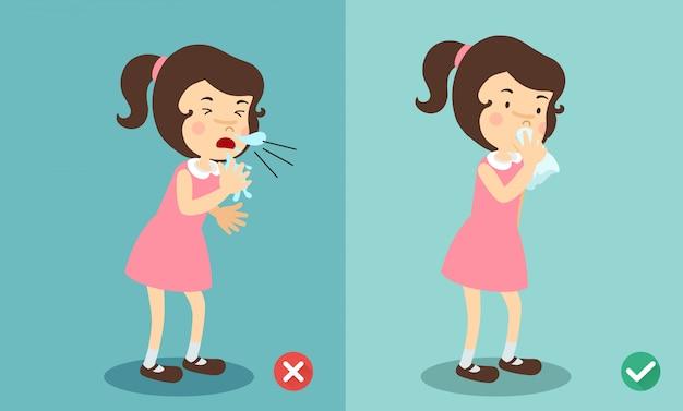 Mädchen richtig und falsch niesen in der hand und taschentuch