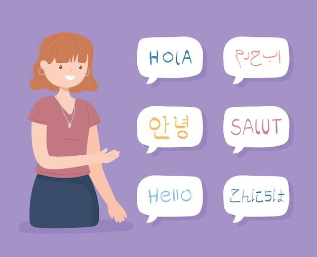 Mädchen sagt hallo