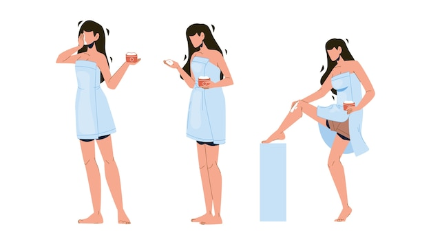 Mädchen salbe paket und massage bein