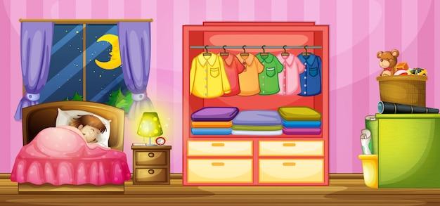 Mädchen schläft im schlafzimmer