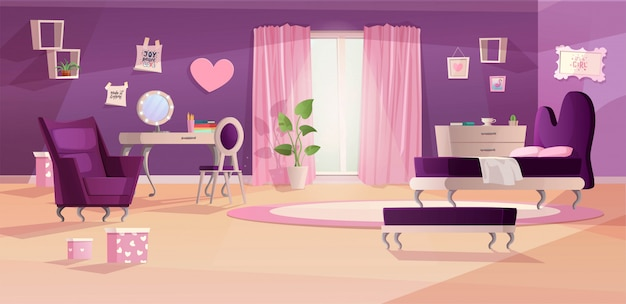 Mädchen schlafzimmer interieur in rosa und violetten farben. cartoon teenager zimmer klassischen stil, mit bett, fenster, sofa, pflanzenfleck und bildern an der wand.