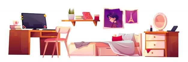 Mädchen schlafzimmer interieur set