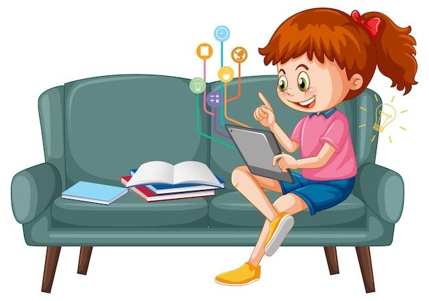 Mädchen sitzt auf der couch und lernt vom tablet