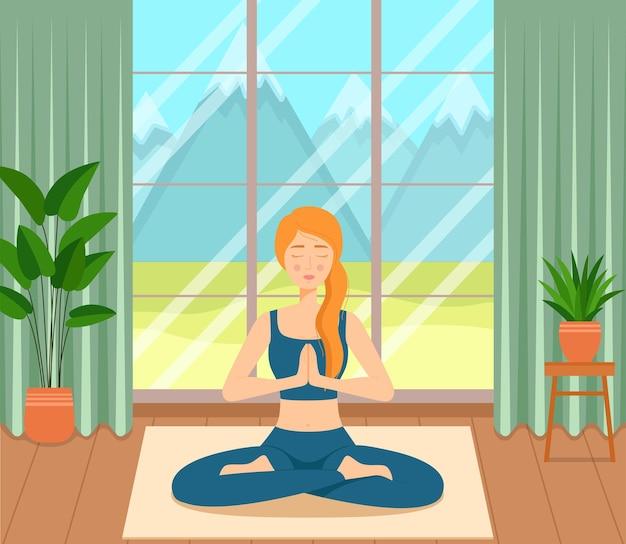 Mädchen sitzt mit gekreuzten beinen im zimmer, praktiziert yoga und meditation, vektorillustration