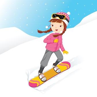 Mädchen snowboarden, schneefall, wintersaison