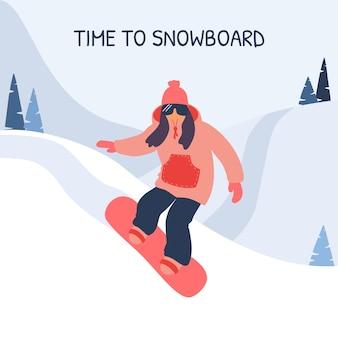 Mädchen snowboarder in den bergen.