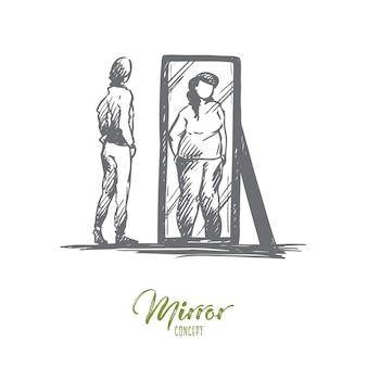 Mädchen, spiegel, körper, verzerrt, gewichtskonzept. hand gezeichnetes unglückliches junges mädchen betrachtet spiegel mit verzerrter körperbildkonzeptskizze.