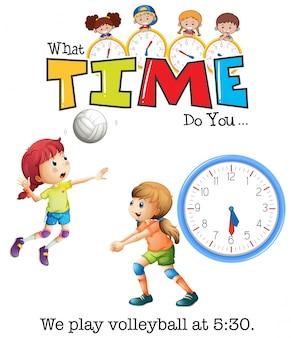 Mädchen spielen volleyball um 5:30 uhr