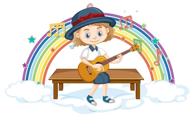 Mädchen spielt gitarre mit melodiesymbolen auf regenbogen