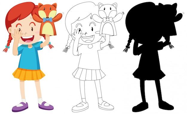 Mädchen spielt mit puppenhand in farbe und schattenbild und umriss