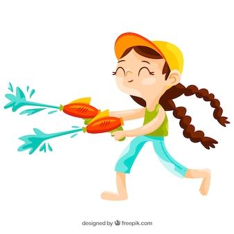 Mädchen spielt mit wassergewehren
