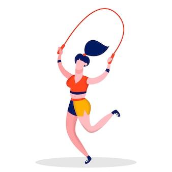 Mädchen springendes springseil flache farbillustration