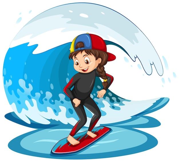 Mädchen steht auf einem surfbrett mit wasserwelle