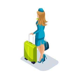 Mädchen stewardess mit sachen und koffern ist am flughafen und wartet. rückansicht, uniformschuhe