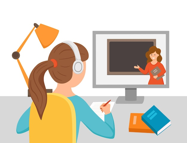 Mädchen studieren online-bildung zu hause cartoon-vektor-illustration. desktop-computer am arbeitsplatz der schüler, der hausaufgaben beim surfen im internet e-learning-schulkonzept macht. lernprozess des schülers