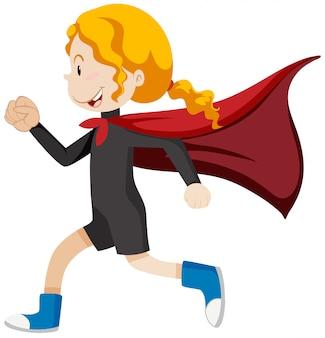 Mädchen superheld läuft
