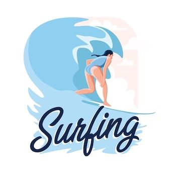 Mädchen surfen