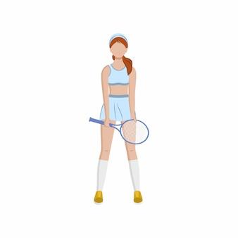 Mädchen-tennisspieler steht mit schläger in ihren händen konzept des sports für frauen cartoon-vektor flach