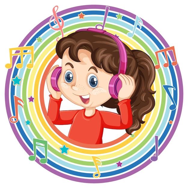 Mädchen tragen kopfhörer im runden regenbogenrahmen mit melodiesymbolen