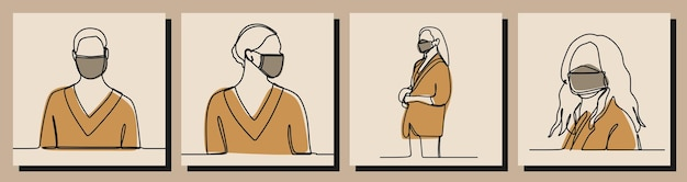 Mädchen tragen maske einzeilig durchgehende linie kunst premium-vektor